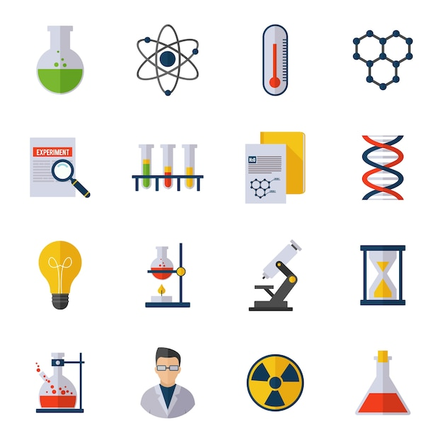 Icône de chimie plat Vecteur gratuit