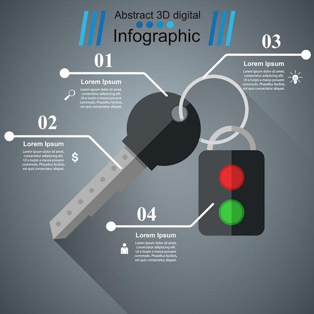 Icône de clé et d'alarme. bisiness infographique. Vecteur Premium