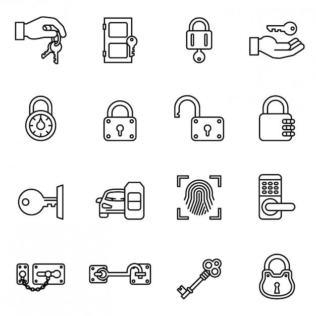 Icône de clés et serrures sertie de fond blanc. Vecteur Premium