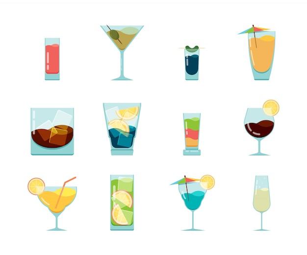 Icône De Cocktails. Fête D'été Alcoolisée Boit Dans Des Verres Collection D'icônes De Vodka Cosmopolite Mojito De Cuba Vecteur Premium
