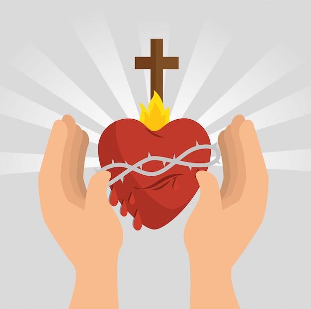 Icône de coeur de jésus sacré Vecteur gratuit