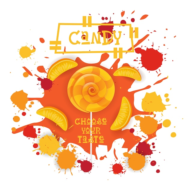 Icône colorée de dessert de pêche de sucrerie lolly choisissez votre café de goût Vecteur Premium