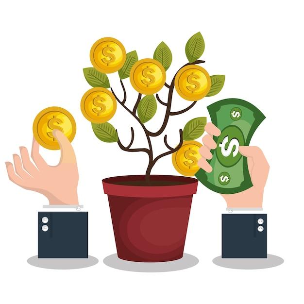 Icône de concept de financement de foule Vecteur Premium