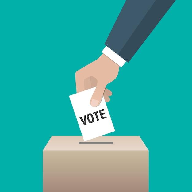 Icône de concept de jour de l'élection. main mettant le papier de vote dans l'urne. Vecteur Premium