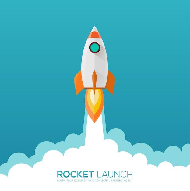 Icône de conception de lancement de fusée et logo. Vecteur Premium