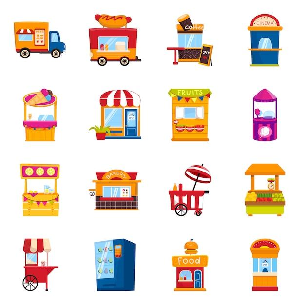 Icône de conception et de stand de vecteur. collection et vente Vecteur Premium