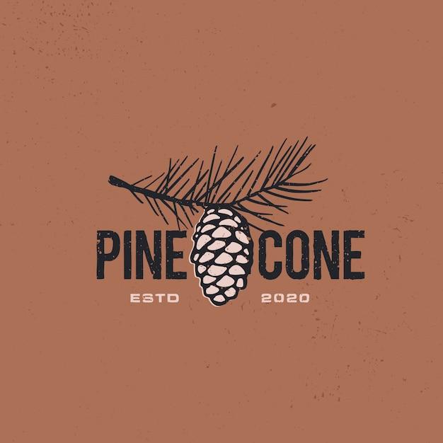 Icône De Cône De Pin Vintage Logo Rétro Illustration Vecteur Premium