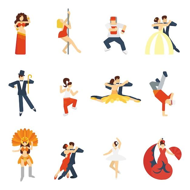 Icône de danse plat Vecteur gratuit