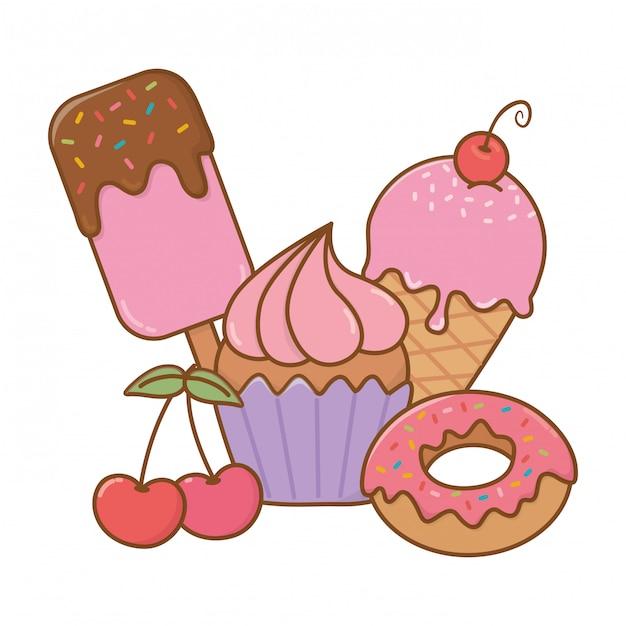 Icône De Desserts Sucrés Vecteur Premium