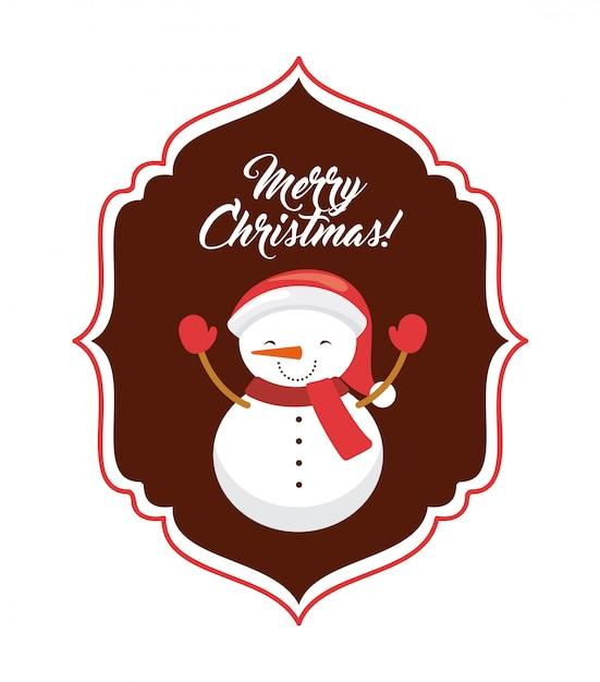 Bonhomme Graphique icône de dessin animé de bonhomme de neige. joyeux noël design