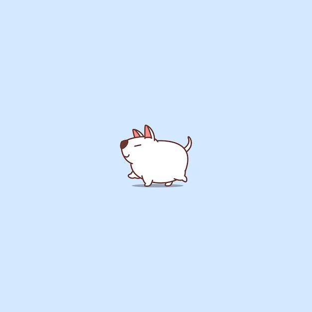 Icône de dessin animé fat bull terrier dog walking Vecteur Premium