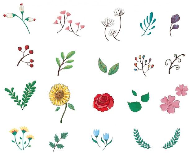 Icône de dessin animé mignon fleurs pastel Vecteur Premium