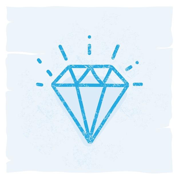 Icône De Diamant Vintage Icône Illustration Vectorielle Doodle Vecteur Premium