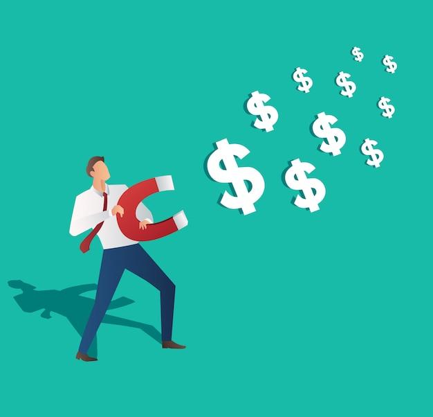 Icône dollar attirant homme d'affaires Vecteur Premium