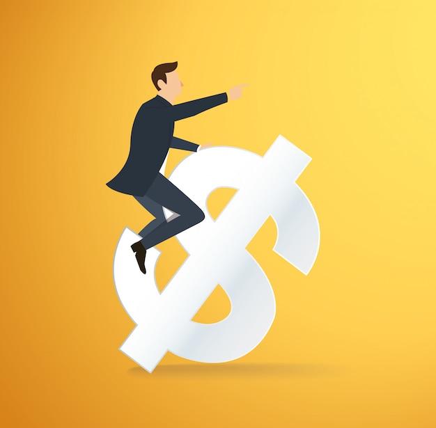 Icône de dollar d'équitation homme Vecteur Premium