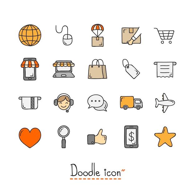 Icône de doodle dessiné à la main. Vecteur Premium
