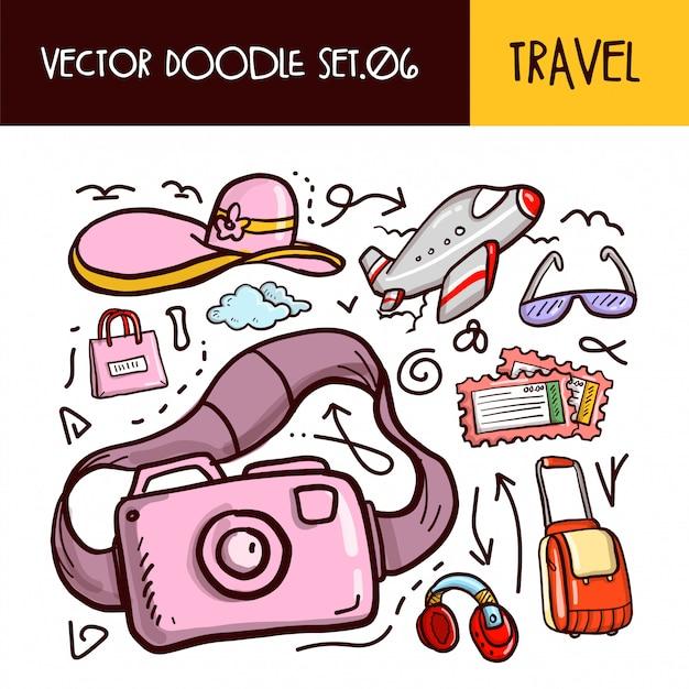 Icône de doodles de voyage. set d'illustration vectorielle Vecteur Premium