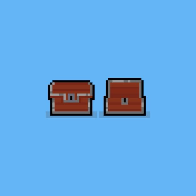 Icône du jeu coffre au trésor pixel pixbit bois. Vecteur Premium