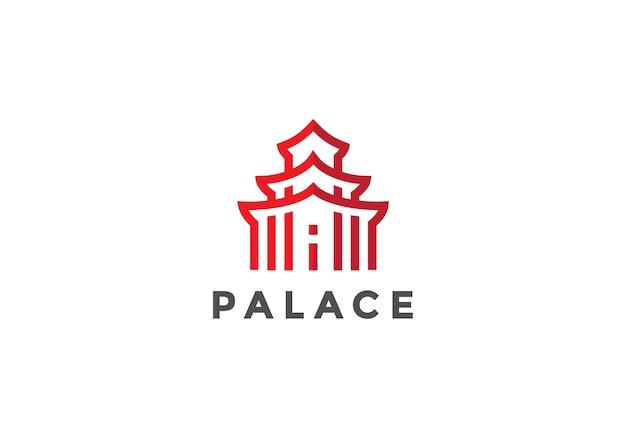 Icône Du Logo Architecture Asiatique. Style Linéaire Vecteur gratuit