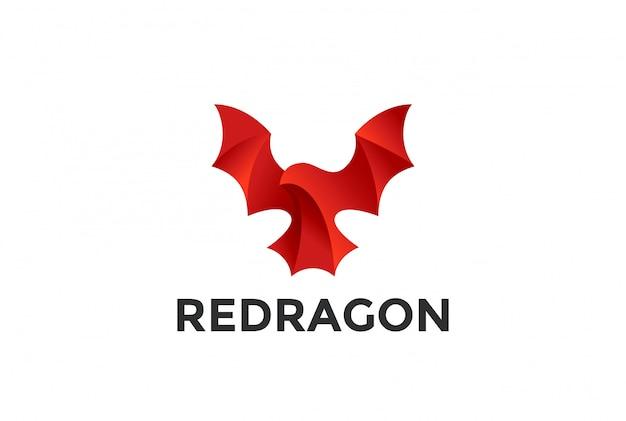 Icône Du Logo Dragon Rouge Volant. Vecteur gratuit
