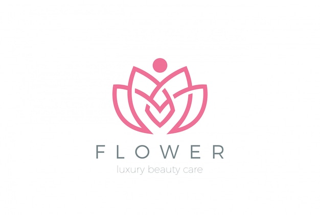 Icône Du Logo Fleur De Lotus. Style Linéaire Vecteur gratuit