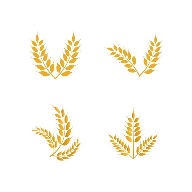 Icône du logo jaune blé Vecteur Premium