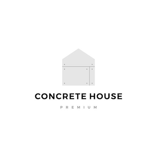 Icône Du Logo De La Maison En Béton Exposée Vecteur Premium