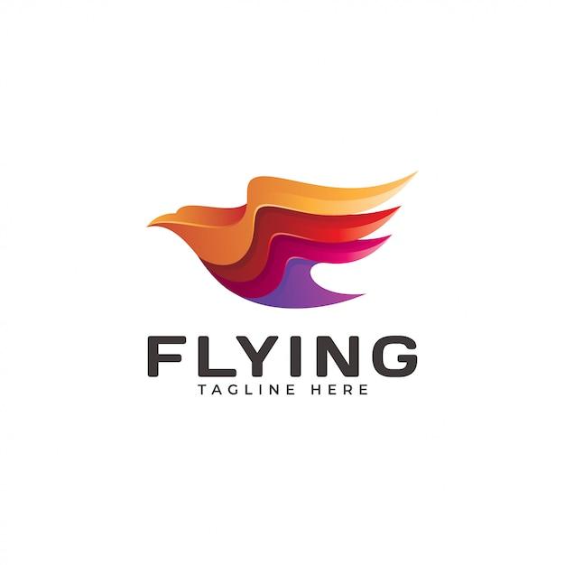 Icône du logo volant moderne aile aigle Vecteur Premium