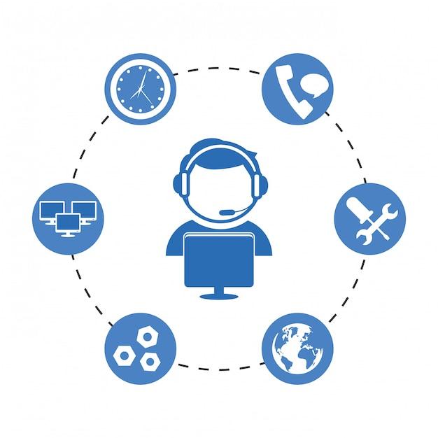 Icône du service technique et du centre d'appel Vecteur Premium