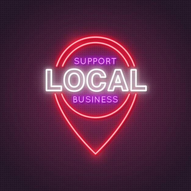 L'icône D'emplacement Au Néon Avec Les Mots Prend En Charge Les Entreprises Locales. Vecteur Premium