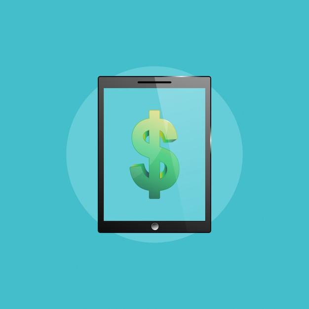 Icône de l'entreprise, illustration de l'ordinateur tablette pc Vecteur Premium
