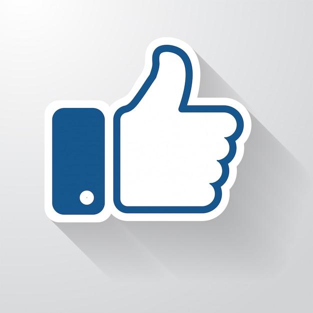 Icône facebook like avec une longue ombre qui a l'air simple. pouces vers le haut Vecteur Premium
