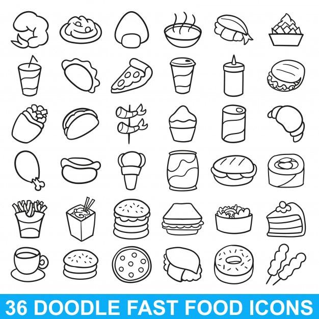 Icône de fast-food doodle restaurant de repas menu Vecteur Premium