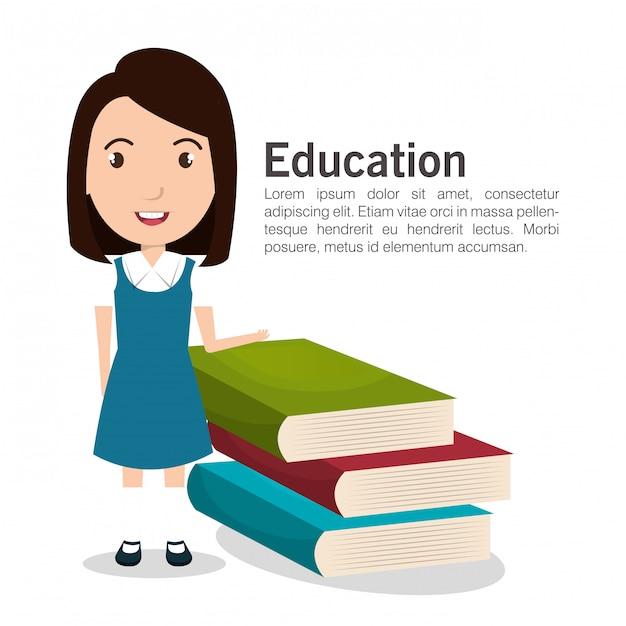 Icône féminine étudiante Vecteur Premium