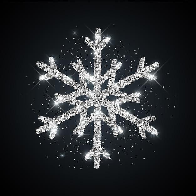 Icône De Flocon De Neige Texturé De Paillettes D'argent Brillant Symbole De Neige Hiver Noël Nouvel An Vecteur Premium