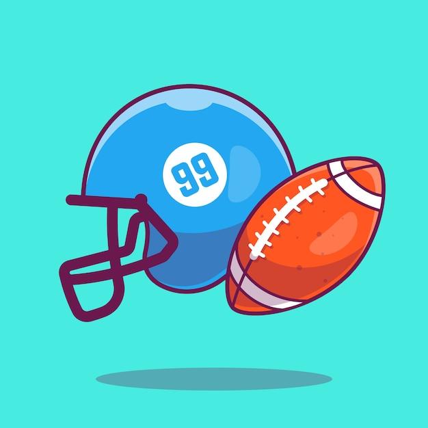 Icône De Football. Ballon De Rugby Et Casque De Football, Icône Du Sport Isolé Vecteur Premium
