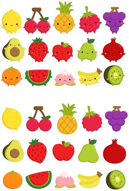 Icône de fruits mignons Vecteur Premium