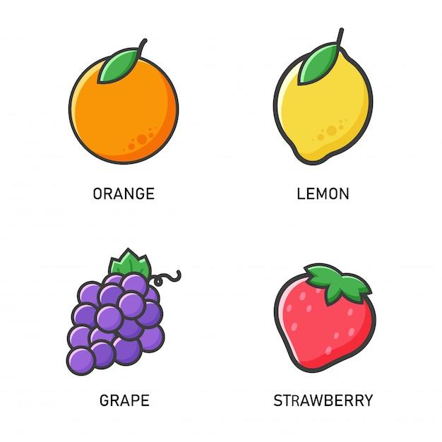 Icône De Fruits. Oranges De Vecteur, Citrons, Raisins Et Fraises Style Plat Qui Semble Simple. Vecteur Premium