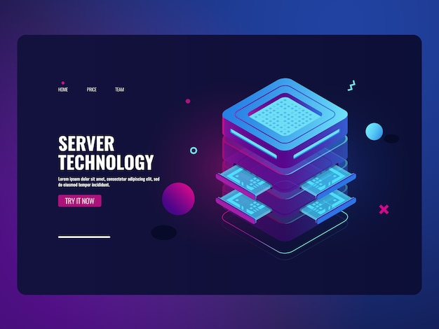Icône futuriste bancaire en ligne, salle de serveur, concept, traitement de données volumineuses Vecteur gratuit
