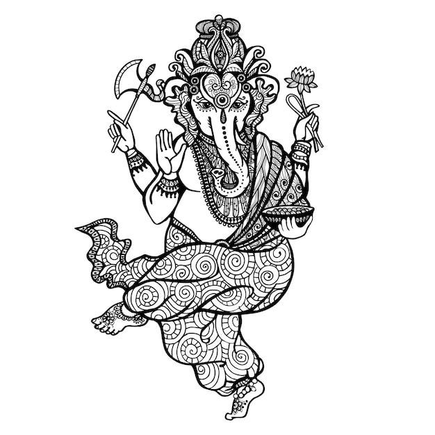 Icône de ganesha dansant Vecteur gratuit
