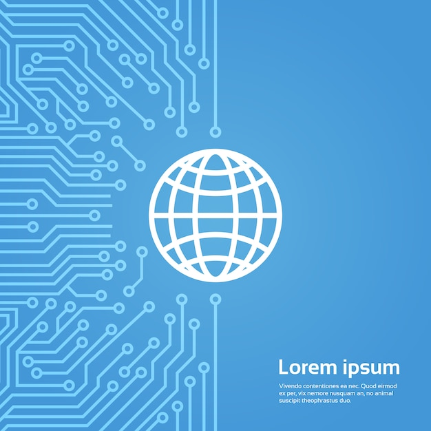 Icône de globe terrestre sur bannière de fond de carte de moteur Vecteur Premium