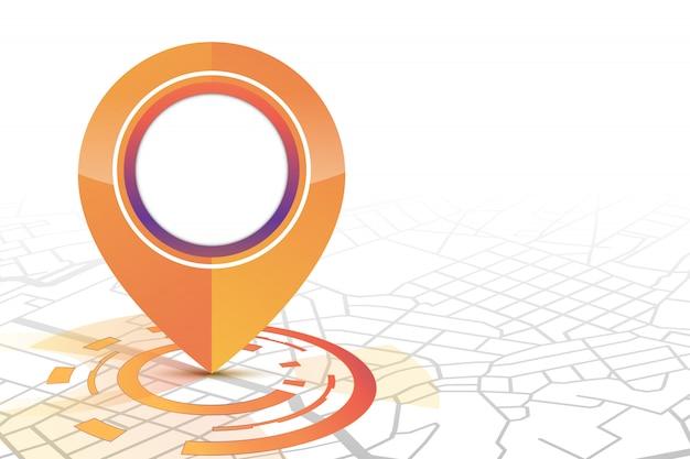 Icône De Gps Maquette De Style De Technologie De Couleur Orange Montrant Dans La Rue Vecteur Premium