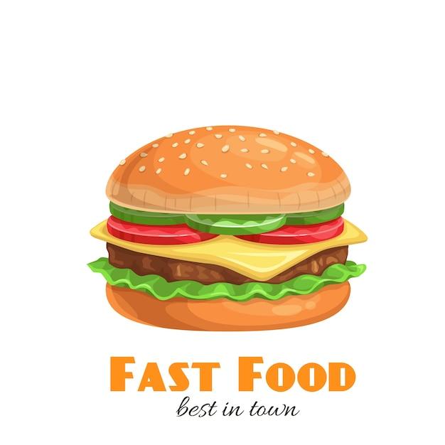 Icône De Hamburger. Illustration De Restauration Rapide Vecteur Premium
