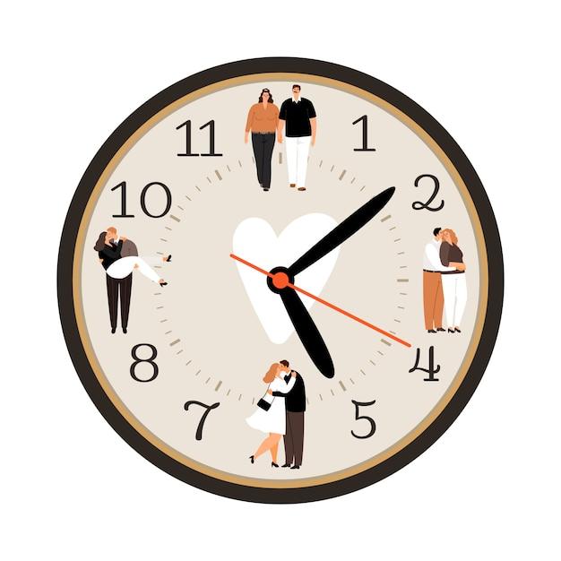 Icône D'horloge D'amour Vecteur Premium