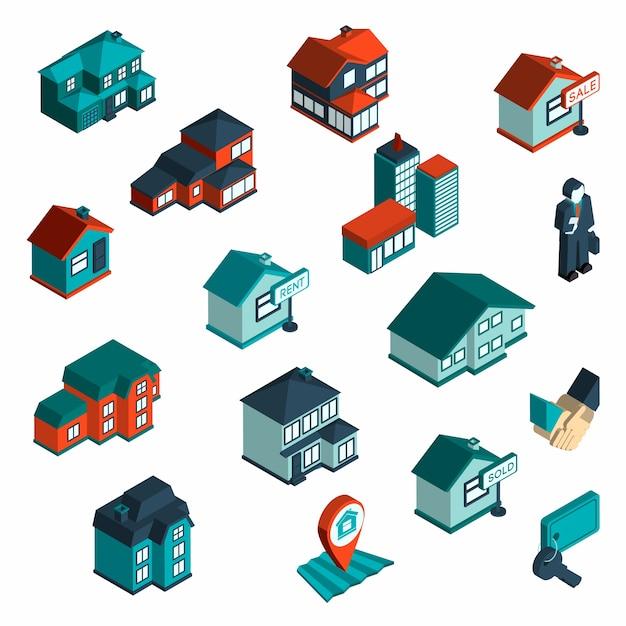 Icône immobilier isométrique Vecteur gratuit