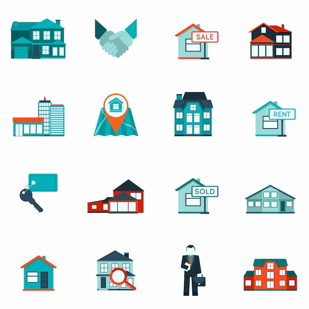 Icône de l'immobilier plat Vecteur gratuit