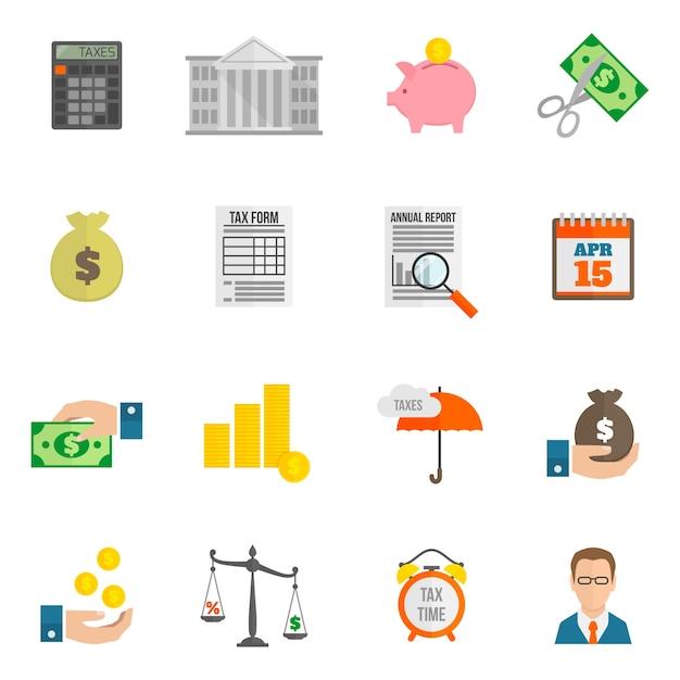 Icône D'impôt Plat Vecteur gratuit