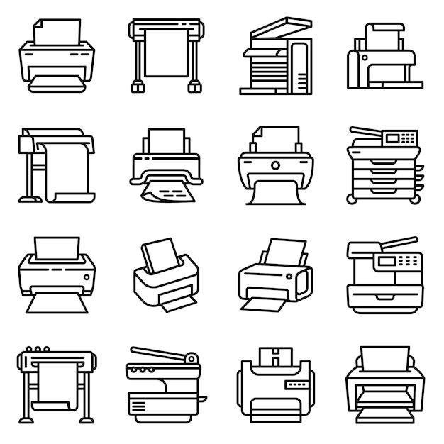 Icône De L'imprimante, Style De Contour Vecteur Premium