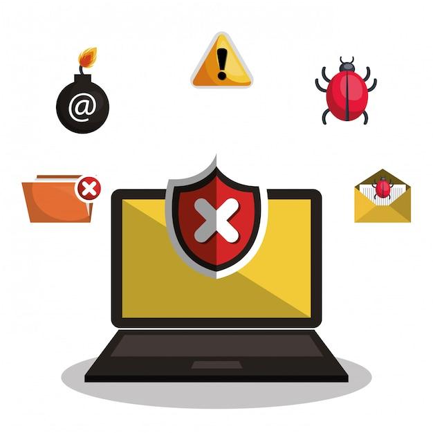 Icône d'information de sécurité internet Vecteur Premium
