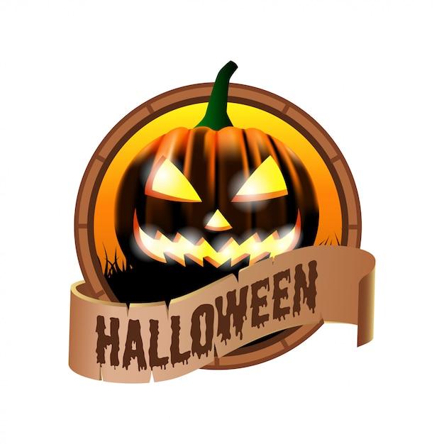 Icône d'insigne d'emblème d'halloween Vecteur Premium